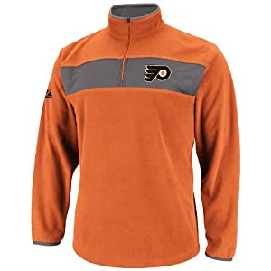 NHL Mens Philadelphia Flyers Dark Orange/Storm Gray Long Sleeve 1/4 Zip Micro Chiller By Majestic (Dark Orange/Storm Gray, Small)