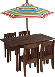 Kidkraft Table And Stacking Chairs With Striped Umbrella from KidKraft
