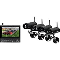 Securityman DigiLCDDVR4 4-Channel Wireless Security System, 7-Inch LCD/SD Recorder with 4 Night Vision Wireless Cameras (Black)