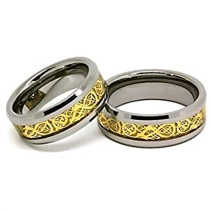 Blue Chip Unlimited - Matching 8mm Tungsten Carbide Bands with 18k Gold Plated Celtic Dragon Inlay His & Hers Set Wedding Bands Engagement Rings for Couples (US Half Sizes 4-16, Half Sizes Available)