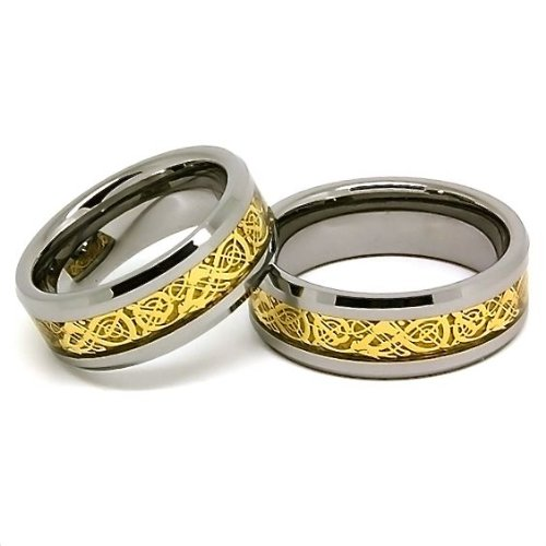 Blue Chip Unlimited - Matching 8mm Tungsten Carbide Bands with 18k Gold Plated Celtic Dragon Inlay His & Hers Set Wedding Bands Engagement Rings (Available in Whole & Half Sizes 4-16)