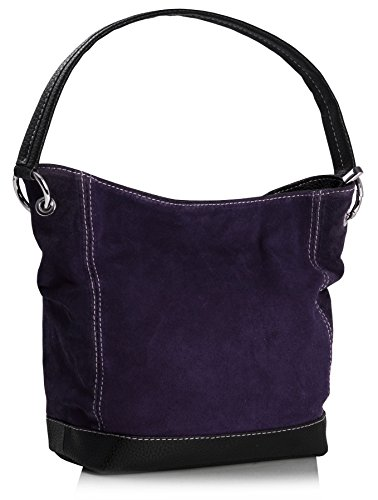 Big Handbag Shop Single Handle Real Italian Suede Leather Bag with Faux Trim