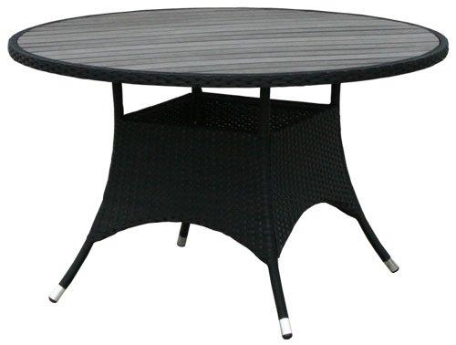 kmh gartentisch mit scharzem polyrattan und dunkelgrauer tischplatte 120cm 106080. Black Bedroom Furniture Sets. Home Design Ideas