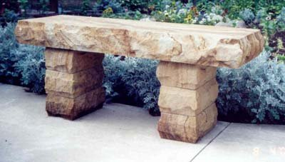 Stone Age Creations BE-SS-1 Copper Sandstone Stone Boulder Bench