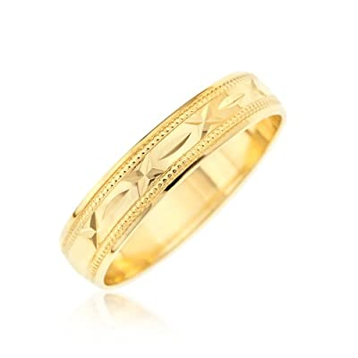 Kareco 9ct 4mm Diamond Cut D Shape Message Wedding Band Ring 'Sealed with a Kiss'