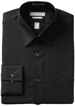 Van Heusen Men's Fitted Poplin Dress Shirt, Black, 14.5 32-33