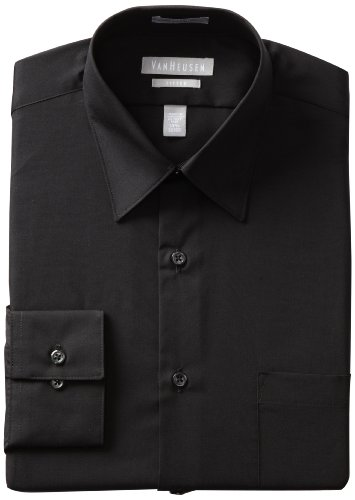 Van Heusen Men's Fitted Poplin Dress Shirt, Black, 17 34-35