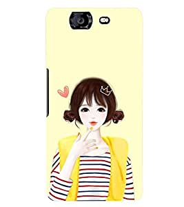 Printvisa Yellow Jacket Cute Girl Back Case Cover for Micromax Canvas Knight A350