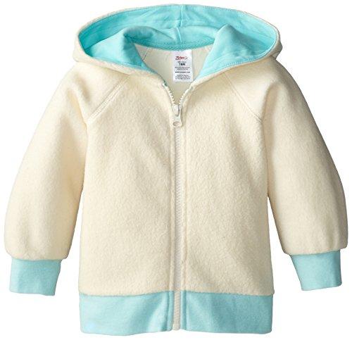 Zutano Unisex Baby Cozie Fleece Contrast Hoodie, Cream, 6 Months