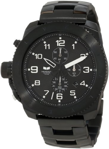 Vestal Men's RES008 Restrictor Black Ion Plated with White Lume Chronograph Watch