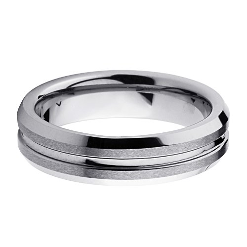 6mm Beveled Flat Brushed & Grooved Center Men's Cobalt Free Tungsten Carbide COMFORT-FIT Wedding Band Ring (Size 5 to 12) - Size 5.5