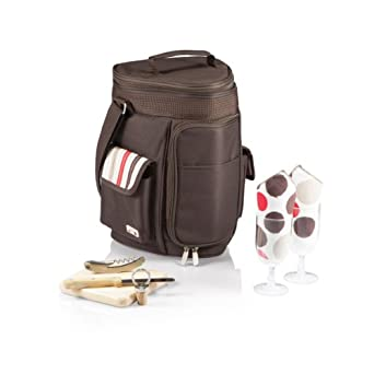 Picnic Time Meritage Insulated Triangular Wine and Cheese Cooler Tote, Moka