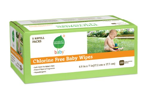 Seventh Generation Chlorine Free  Baby Wipes, 350 Unscented Wipes
