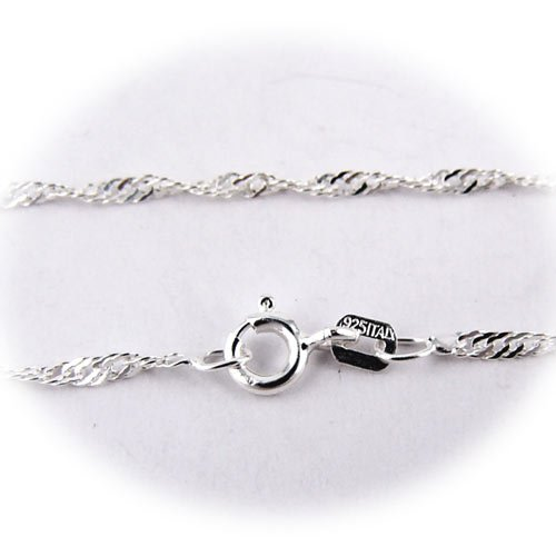 Sterling Silver Singapore Nickel Free Chain Necklace for Child Italy 14 Inch