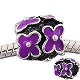 Believe Beads © 1 X Purple Flowers Charm Bead fits Pandora/Troll/Chamilia style Bracelets