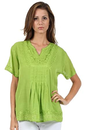Sakkas 73TV Pleated Floral Embroidered Short Sleeve Semi-Sheer Gauzy Cotton Top / Blouse - Spring Green - 3X