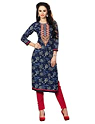 Faux Cotton Navy Blue Colour Embroidered Floral Print Official Wear Women's Kurtas/Kurtis 4308