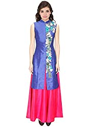 Rozdeal New Pink & Blue Colour Embroidered Designer Jacket Kurta With Skirt Lehenga