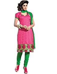 Vibes Designer Pure Chanderi Unstiched Dress Materials,Free Size,Pink,(With Top Free) V207-3606