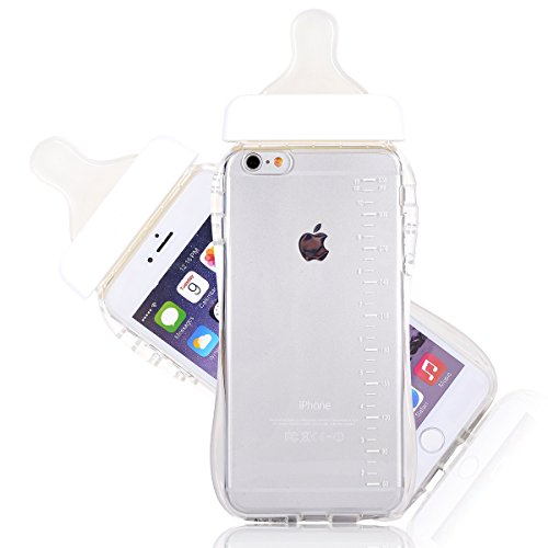 6S Plus Case, CHIBI Cute Baby Pacifier Milk Feeding Bottle Shape Soft TPU Clear Case Back Cover for iPhone 6/6s Plus 5.5inch (White) (Feeding Bottle Case compare prices)