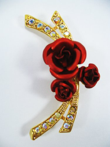 New Brooch Crystal Red Flower Cute