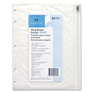 "Ring Binder Pocket, with Zipper, Vinyl, Hole Punched, 10.5""x8"", CL"