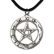 Celestial Zodiac Pentagram Sterling Silver Pendant Necklace