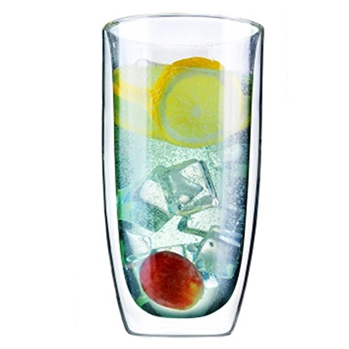Creative Double Glass Transparent Insulation Sub Cups, Juice Cups, Mugs 480ml