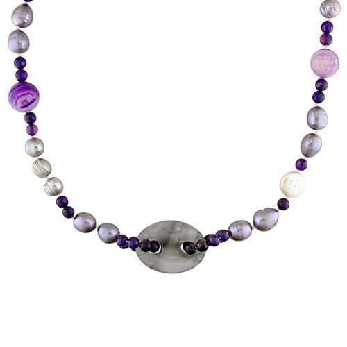 New York Pearls FW Pearl and Multi-gemstone Necklace (10-14 mm)