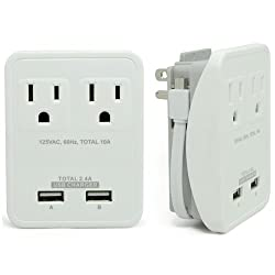 RND Compact Power Station 2.4 Amp Dual USB Ports 2 AC Outlet Wall Charger with an attached 7 inch Micro USB cable (white)