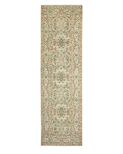 Bashian Rugs Hand-Knotted Pakistani Mansehra Rug, Light Green, 2' 11 x 10' 4 Runner
