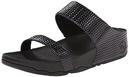 FitFlop Women\'s Lulu Slide Weave, Black, 9 M US