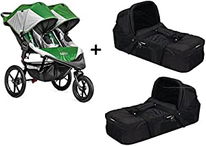 Baby Jogger 2015 Summit X3 Double Stroller, Green/Grey + 2 Baby Jogger Compact Pram Bassinet, Black Complete Set