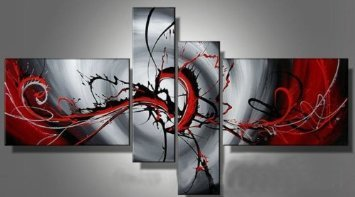 Santin Art - Hand-painted Passion Color High Q. Home Decoration Modern Abstract Best-selling Oil Painting on Canvas 4pcs/set Framed on the Back