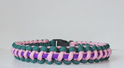 SENC-550-Paracord-Dog-Collar-with-Side-Release-Buckle-TealPinkPurple