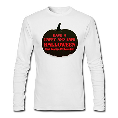 JaHa Men's Jack O' Lantern Pumpkin Zombie Halloween Long Sleeve T Shirts