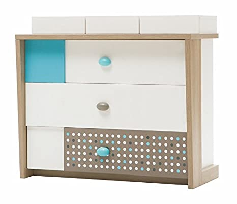 Blue Point Children's Chest of Drawers with UV Printed, 106 x 95 x 52 cm, White