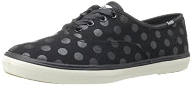 Keds Women's Champion Dot Wool Oxford,Black,5 M US