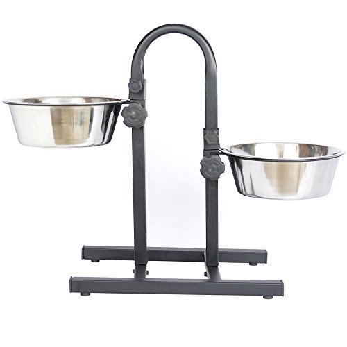 Iconic Pet 8-Cup Adjustable Stainless Steel U-Design Pet Double Diner, 64-Ounce
