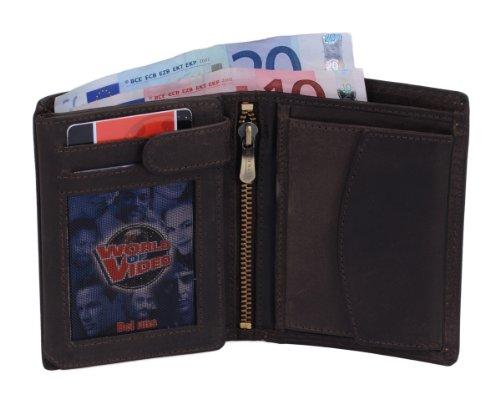 Portefeuille RED ROCK, cuir véritable, marron foncé 12,5x9,5cm