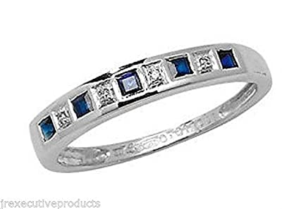 J R Jewellery 440915 White Gold Real Sapphire & Diamond Half Eternity Ring