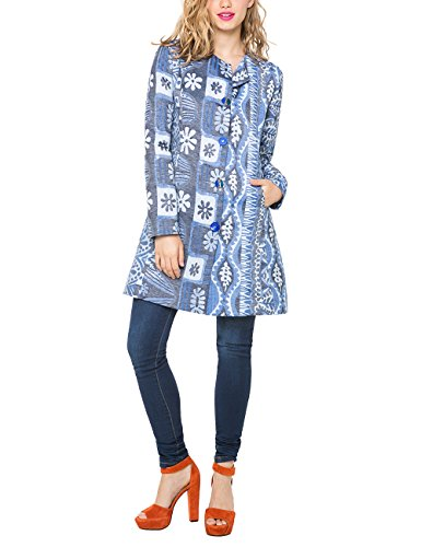 Desigual CHAQ_MAGIC BLUE COAT-impermeable Donna    Bleu (Ducados) 48