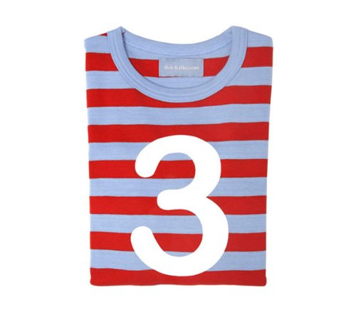 Bob and Blossom Sky Blue and Red Striped Number T-shirt 3-4y