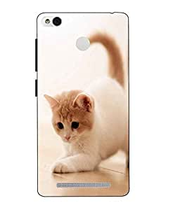 Case Cover Cat Printed White Hard Back Cover For Xiaomi Redmi 3S