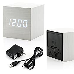 GEARONIC TM Ultra Modern Wooden LED Clock Square Cube Digital Alarm Thermometer Timer Calendar Updated 2016 Brighter LED - White