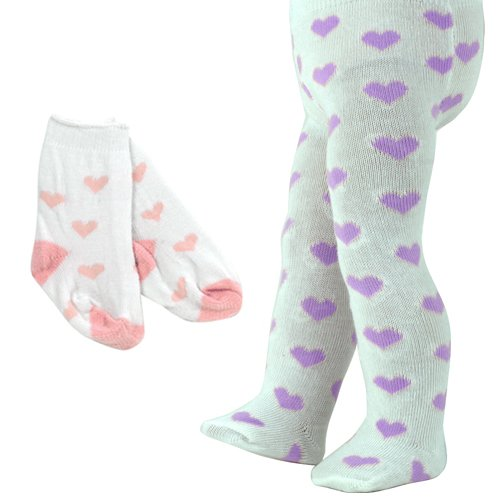 Doll Socks & Doll Tights 2 Pair Doll Clothing Set Includes: Lavender Heart Stockings & Pink Heart Sock Set by Sophia's, Fits 18 Inch American Girl Dolls & More!