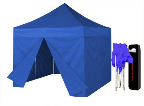 Eurmax Pop Up Canopy Tent 10X10 Quick Gzaebo Shelter W/ Full Walls Bonus Dust Cover |Blue front-908740
