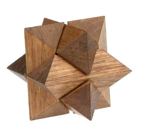 Classic 3D Star Jigsaw Wooden Puzzle, Brain Teaser, Gift Boxed - 1