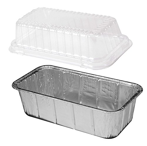 Handi-Foil 2 lb. Aluminum Foil Loaf Bread Pan w/Clear Plastic High Dome Lid 50 Pack (50 Sets)