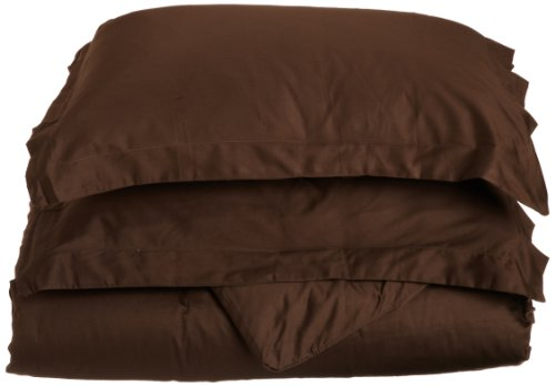 Impressions Genuine Egyptian Cotton 400 Thread Count Full/Queen 3-Piece Duvet Cover Set Solid, Mocha front-1005495
